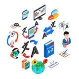 Iconos fijados, del traductor estilo isométrico 3d stock de ilustración
