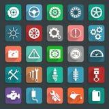 Iconos fijados, diseño moderno del plano de servicio del coche de la plantilla del ejemplo del vector Fotos de archivo libres de regalías