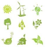 Iconos fijados - ecología Foto de archivo libre de regalías