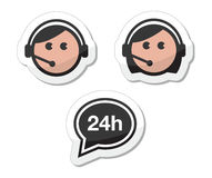 Iconos fijados, escrituras de la etiqueta - centro de atención telefónica a del servicio de atención al cliente Imágenes de archivo libres de regalías