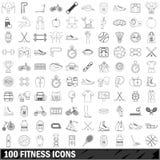 100 iconos fijados, estilo de la aptitud del esquema Fotos de archivo