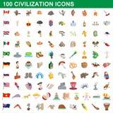 100 iconos fijados, estilo de la civilización de la historieta libre illustration