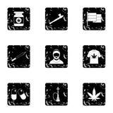 Iconos fijados, estilo de la droga del grunge stock de ilustración