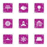 Iconos fijados, estilo de la empresa del bosque del grunge Fotografía de archivo libre de regalías
