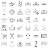 Iconos fijados, estilo de la gastronomía del esquema libre illustration