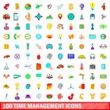 100 iconos fijados, estilo de la gestión de tiempo de la historieta stock de ilustración