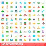 100 iconos fijados, estilo de la historieta Imagenes de archivo