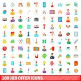 100 iconos fijados, estilo de la oferta de trabajo de la historieta Fotografía de archivo libre de regalías