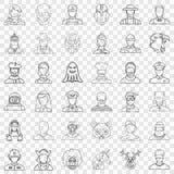 Iconos fijados, estilo de la persona del esquema libre illustration
