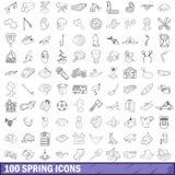 100 iconos fijados, estilo de la primavera del esquema Foto de archivo libre de regalías