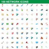 100 iconos fijados, estilo de la red de la historieta Foto de archivo