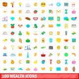 100 iconos fijados, estilo de la riqueza de la historieta Imágenes de archivo libres de regalías