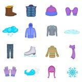 Iconos fijados, estilo de la ropa del invierno de la historieta stock de ilustración