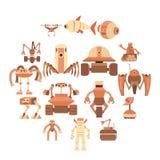 Iconos fijados, estilo de las formas del robot de la historieta libre illustration