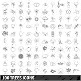 100 iconos fijados, estilo de los árboles del esquema Imágenes de archivo libres de regalías