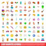 100 iconos fijados, estilo de los hábitos de la historieta Foto de archivo libre de regalías