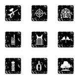 Iconos fijados, estilo de Paintball de la competencia del grunge Foto de archivo