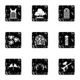 Iconos fijados, estilo de Paintball del tiroteo del grunge Imágenes de archivo libres de regalías