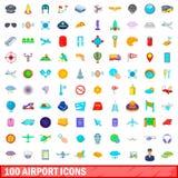 100 iconos fijados, estilo del aeropuerto de la historieta Foto de archivo