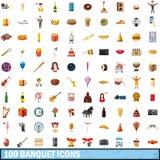 100 iconos fijados, estilo del banquete de la historieta ilustración del vector