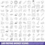 100 iconos fijados, estilo del dinero que pagan del esquema stock de ilustración