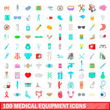 100 iconos fijados, estilo del equipamiento médico de la historieta Fotografía de archivo libre de regalías