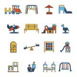 Iconos fijados, estilo del equipo del patio de la historieta Imagen de archivo