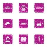 Iconos fijados, estilo del espionaje del grunge ilustración del vector