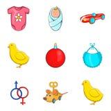 Iconos fijados, estilo del juego de Childs de la historieta Fotografía de archivo libre de regalías