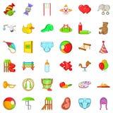 Iconos fijados, estilo del juguete del bebé de la historieta Foto de archivo libre de regalías