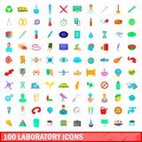 100 iconos fijados, estilo del laboratorio de la historieta Imagen de archivo libre de regalías