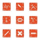 Iconos fijados, estilo del material compuesto del grunge ilustración del vector