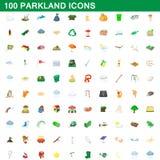 100 iconos fijados, estilo del parkland de la historieta libre illustration