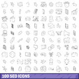 100 iconos fijados, estilo del seo del esquema Foto de archivo