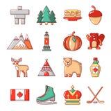 Iconos fijados, estilo del viaje de Canadá de la historieta libre illustration