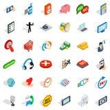 Iconos fijados, estilo isométrico de Internet stock de ilustración