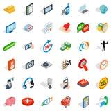Iconos fijados, estilo isométrico de la comunicación libre illustration