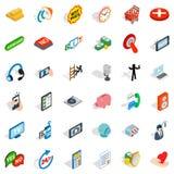Iconos fijados, estilo isométrico de la comunidad libre illustration