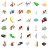 Iconos fijados, estilo isométrico de la cultura del mundo stock de ilustración
