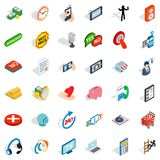 Iconos fijados, estilo isométrico de la información libre illustration