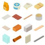 Iconos fijados, estilo isométrico de los materiales de construcción ilustración del vector