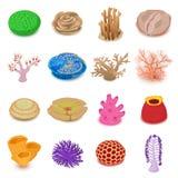 Iconos fijados, estilo isométrico del arrecife de coral ilustración del vector