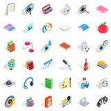 Iconos fijados, estilo isométrico del estudiante Imágenes de archivo libres de regalías