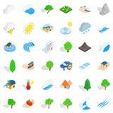 Iconos fijados, estilo isométrico del volcán Foto de archivo libre de regalías