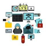 Iconos fijados, estilo plano de la actividad criminal libre illustration
