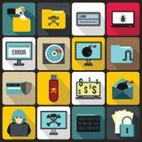 Iconos fijados, estilo plano de la actividad criminal ilustración del vector
