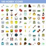 100 iconos fijados, estilo plano de la afición stock de ilustración