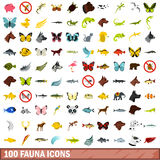100 iconos fijados, estilo plano de la fauna Imagen de archivo libre de regalías