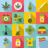 Iconos fijados, estilo plano de la marijuana stock de ilustración