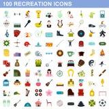 100 iconos fijados, estilo plano de la reconstrucción ilustración del vector
